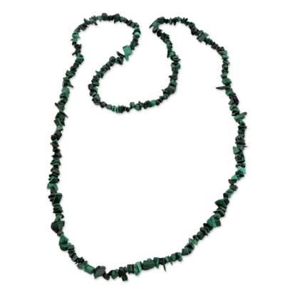Natural Malachite Beaded Strand Necklace