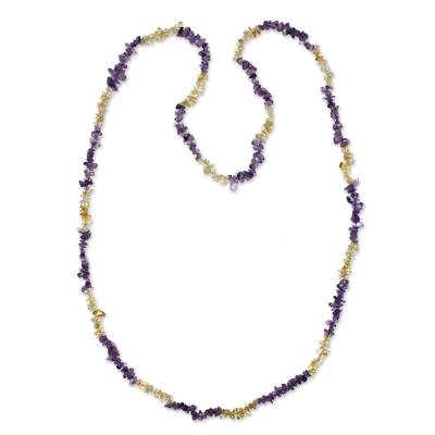 Artisan Crafted Long Amethyst and Citrine Necklace