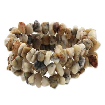 Handmade Jewelry Stretch Quartz Bracelets (set of 3)