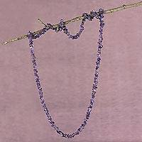 Amethyst beaded necklace, 'Light of Wisdom' - Artisan Crafted Amethyst Fair Trade Necklace