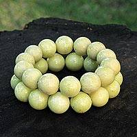 Jade beaded bracelets, 'Inspired' (pair) - Lime Green Jade Bracelets