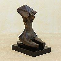 Bronze sculpture, 'Tropical Beauty' - Femenine Artistic Nude Signed Bronze Sculpture