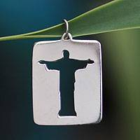 Sterling silver pendant, 'Christ the Redeemer' - Brazilian Sterling Pendant