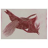 'Red Bird' - Limited Edition Signed Original Print Art