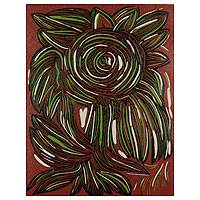 'Tropical Sunflower' - Red and Green Signed Linoleum Block Print