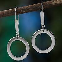 Sterling silver dangle earrings, 'Halo' - Modern Brazilian Silver Earrings