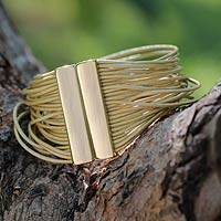 Gold accent leather wristband bracelet, 'Golden Brazilian Glam'