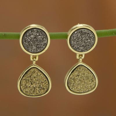 Brazilian drusy agate dangle earrings, 'Glitter' - Fair Trade Brazilian Drusy Agate Dangle Earrings