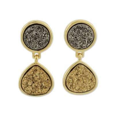 Brazilian drusy agate dangle earrings, 'Glitter' - Fair Trade Brazilian Drusy Agate Dangle Earrings