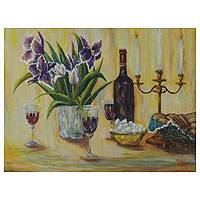 'A Toast to Love' - Original Brazilian Still Life Painting Signed