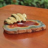 Bronze and caramel agate sculpture, 'Right Hand Agate' - Bronze and Agate Sculpted Tray