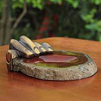 Bronze and caramel agate sculpture, 'Left Hand Agate II' - Bronze and Agate Soap Dish Sculpted Tray
