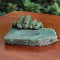 Bronze and green quartz sculpture, 'Left Hand Quartz' - Green Quartz and Patina Bronze Sculpted Tray
