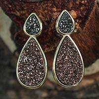 Brazilian drusy agate dangle earrings, 'Sparkling Life' - Brazilian Drusy Gold Plated Dangle Earrings