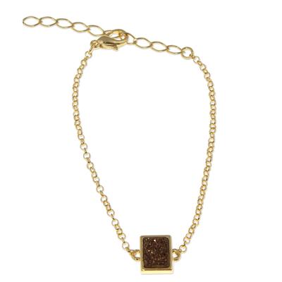 Bronze Brazilian Drusy Agate Gold Plated Bracelet