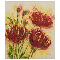 'Passion' - Red Flowers Signed Painting Brazil Fine Arts