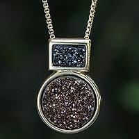 Gold plated drusy agate pendant necklace, 'Midnight Moon' - Brazilian 18k Gold Plated Drusy Agate Necklace