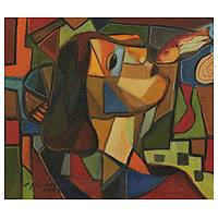 'Fishing with Passion' - Unique Portrait Style Cubist Painting from Brazil