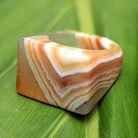 Agate cocktail ring, 'Earth Mystique' - Caramel Agate Cocktail Ring