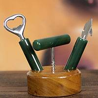 Agate bar set, 'Carioca Green' (3 pieces) - Agate Bar Set with Wood Stand from Brazil (3 pieces)