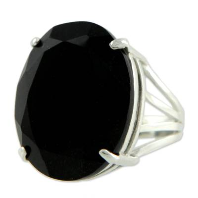 Onyx cocktail ring, 'Oval Facets' - Brazilian Artisan Crafted Faceted Black Onyx Cocktail Ring