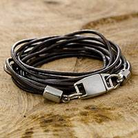 Leather wristband bracelet, 'Rio Triple Crown' - Black Leather Wrap Bracelet