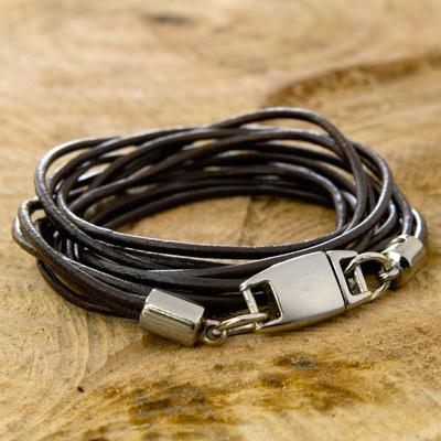 Leather wristband bracelet, 'Rio Triple Crown' - Black Leather Wrap Bracelet