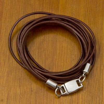 Leather wristband bracelet, 'Sao Paulo Triple Crown' - Brown Leather Wrap Bracelet