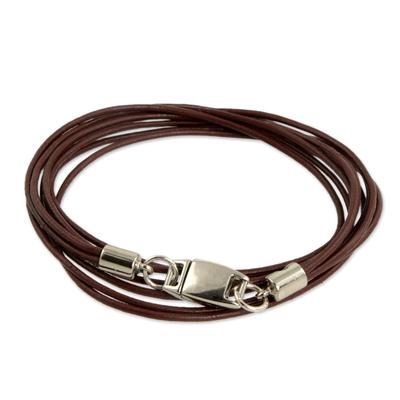 Leather wristband bracelet, 'Sao Paulo Triple Crown' - Brown Leather Wrap Bracelet