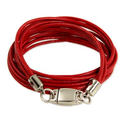 Leather wristband bracelet, 'Brazilian Triple Crown' - Red Leather Wrap Bracelet