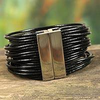 Leather wristband bracelet, 'Black Brazilian Glam' - Women's Black Leather Bracelet