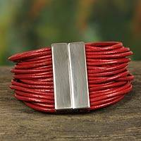 Leather wristband bracelet, 'Red Brazilian Glam'