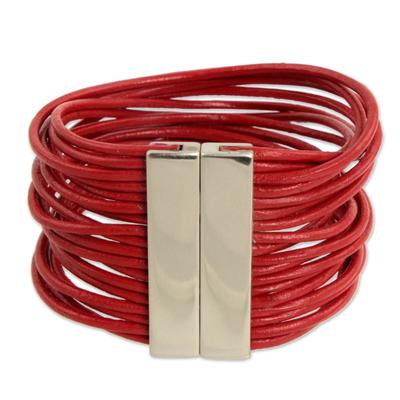 Leather wristband bracelet, 'Red Brazilian Glam' - Women's Red Leather Bracelet
