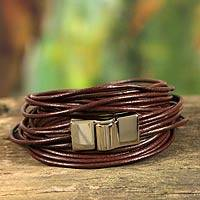 Leather wristband bracelet, 'Brown Quadruple Spin'