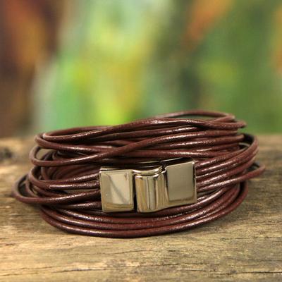 Leather wristband bracelet, 'Brown Quadruple Spin' - 5-Strand Brown Leather Wrap Bracelet