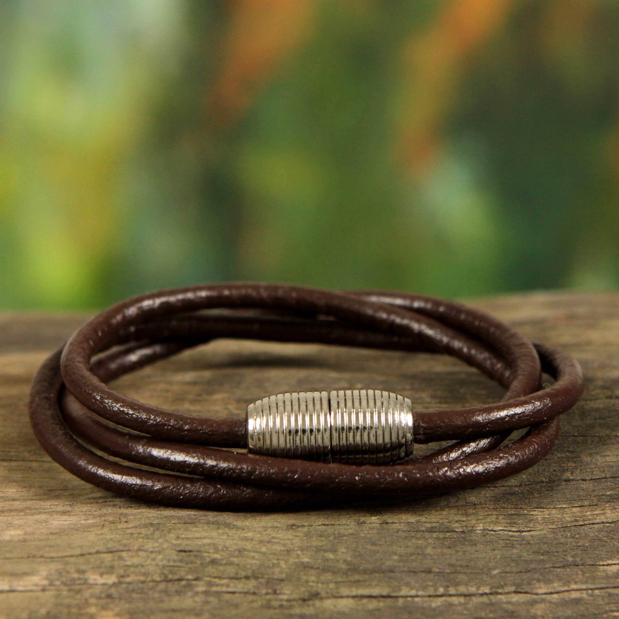 Men S Brazilian Leather Bracelet Brown Triple Embrace