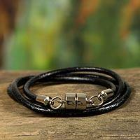 Men's leather wrap bracelet, 'Trio in Black'