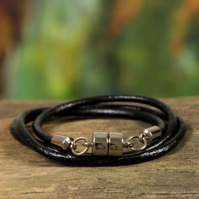Men's leather wrap bracelet, 'Trio in Black' - Men's Black Leather Wrap Bracelet