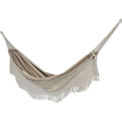 Cotton hammock, 'Quiet Sands' (double) - Brazilian Cotton Hammock Brown Beige Crocheted Trim (Double)