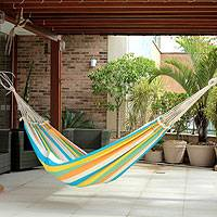 Cotton hammock, 'Sea and Sunshine' (double) - Artisan Crafted Striped Cotton Hammock from Brazil (Double)