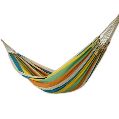 Artisan Crafted Striped Cotton Hammock from Brazil (Double)