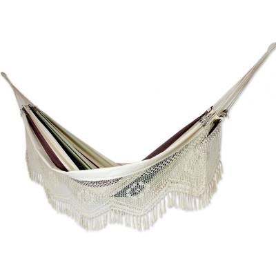 Cotton hammock, 'Joyous Earth' (double) - Brazilian Cotton Hammock Earth Tones Crocheted Trim (Double)