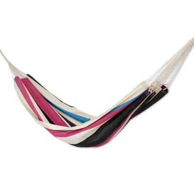 Cotton hammock, 'Formosa Shadows' (Double) - Modern Colorful Striped Cotton Double Hammock from Brazil