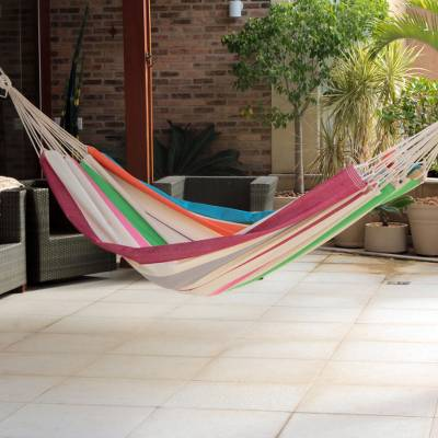 Cotton hammock, 'Formosa Festa' (Double) - Brazilian Cotton Double Hammock in Tropical Tones