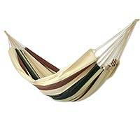 Cotton hammock, 'Summer Shade' (double) - Brazilian Cotton Double Hammock in Tropical Tones