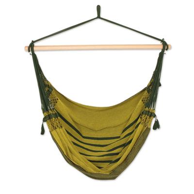 Cotton hammock swing, 'Amazon Forest' - Hand Woven Green Cotton Swing Hammock from Brazil