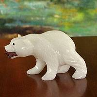 Calcite and jasper sculpture, 'Polar Bear' - Handcrafted Brazilian Gemstone Wildlife Sculpture
