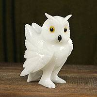 Calcite and dolomite sculpture, 'Alpine Owl' - Handcrafted Brazilian Gemstone Owl Sculpture
