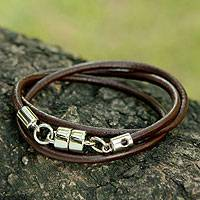 Men's leather wrap bracelet, 'Trio in Brown' - Men's Black Leather Wrap Bracelet With Magnetic Clasp