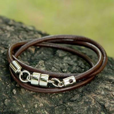 Men's leather wrap bracelet, 'Trio in Brown' - Men's Black Leather Wrap Bracelet With Magnetic Clasp